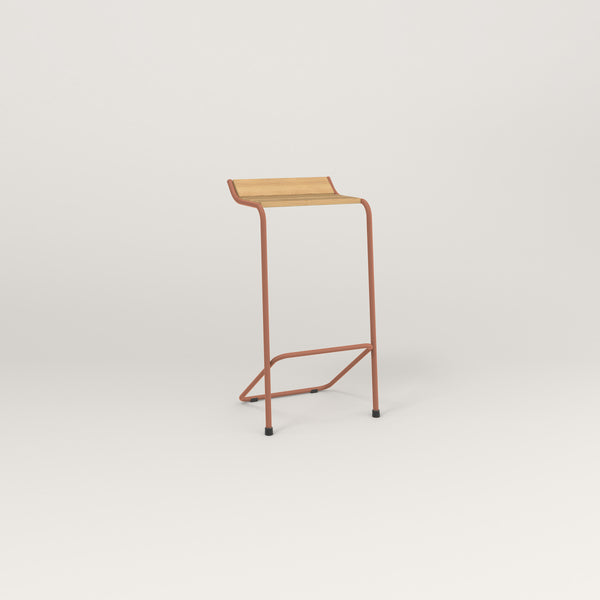 RAD Signature Bar Stool in solid white oak and coral powder coat.
