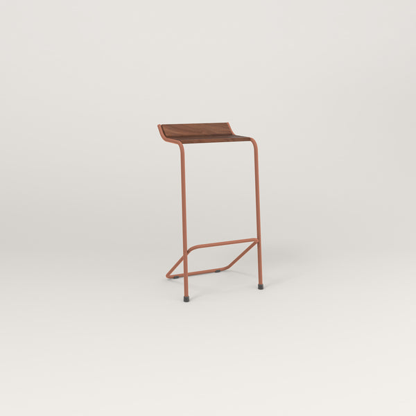 RAD Signature Bar Stool in slatted wood and coral powder coat.