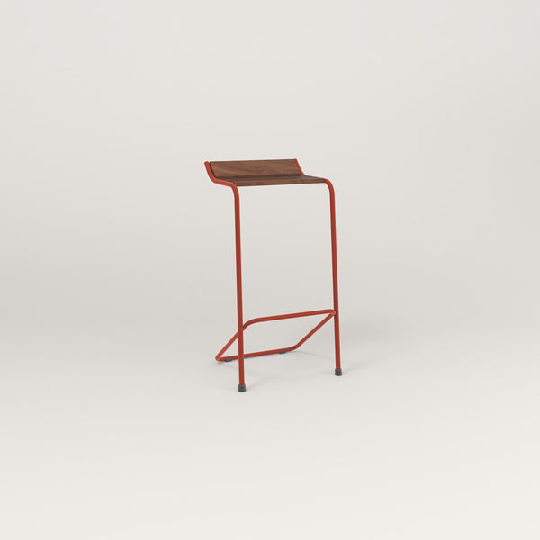 RAD Signature Bar Stool in slatted wood and red powder coat.
