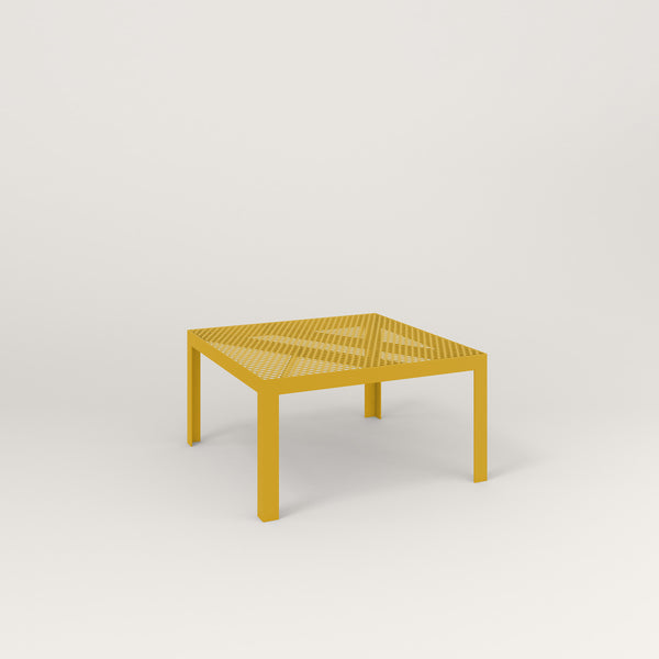 RAD Signature Coffee Table in perforated steel and yellow powder coat.