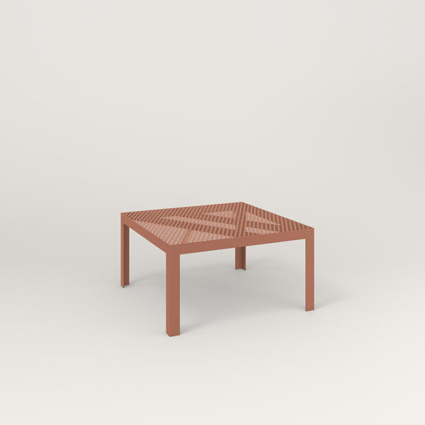 RAD Signature Coffee Table in perforated steel and coral powder coat.