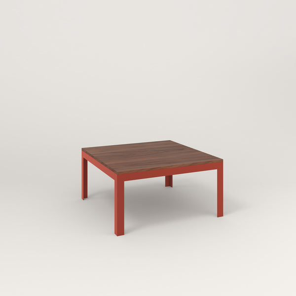 RAD Signature Coffee Table in slatted wood and red powder coat.