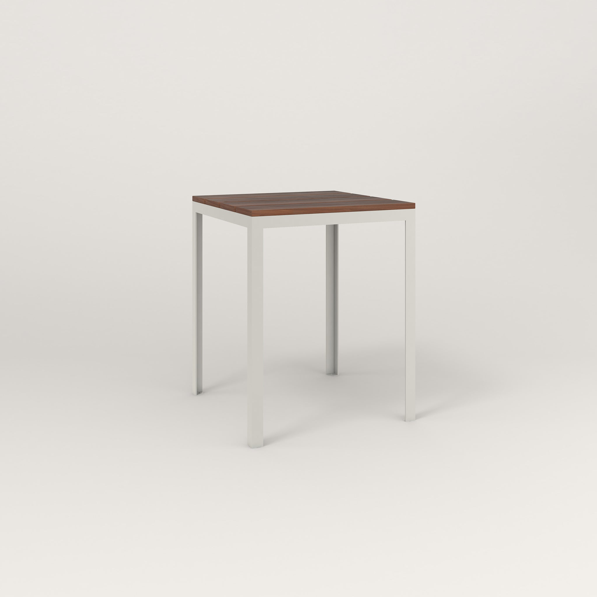 RAD Signature Square Cafe Table, in slatted wood and white powder coat.