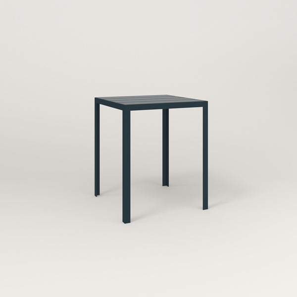 RAD Signature Square Cafe Table, Slatted Steel in navy powder coat.