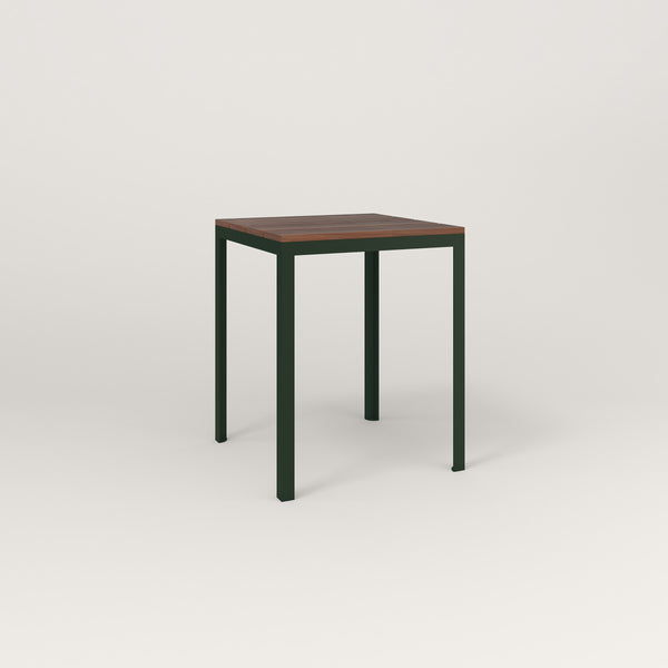 RAD Signature Square Cafe Table, in slatted wood and fir green powder coat.