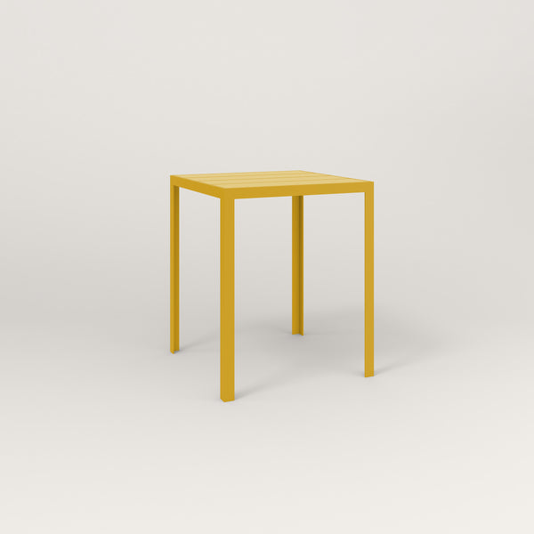 RAD Signature Square Cafe Table, Slatted Steel in yellow powder coat.