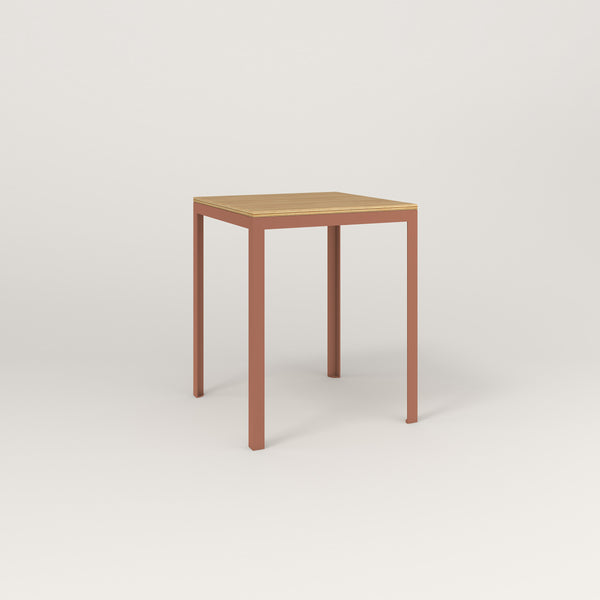 RAD Signature Square Cafe Table, Wood Veneer in coral powder coat.