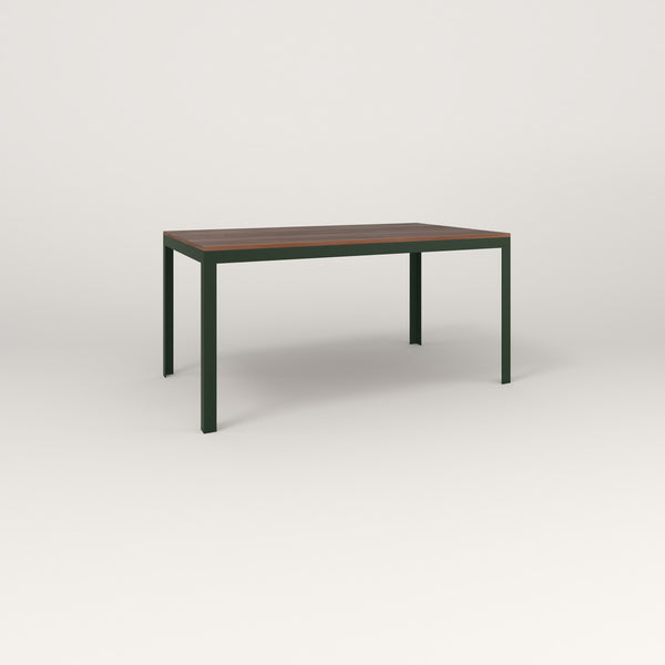 RAD Signature Table in slatted wood and fir green powder coat.