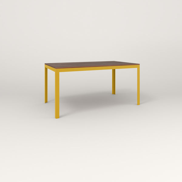 RAD Signature Table in slatted wood and yellow powder coat.