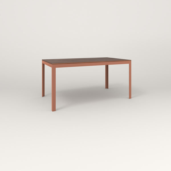 RAD Signature Table in slatted wood and coral powder coat.