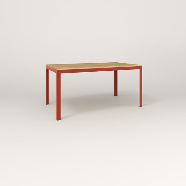 RAD Signature Table in solid white oak and red powder coat.