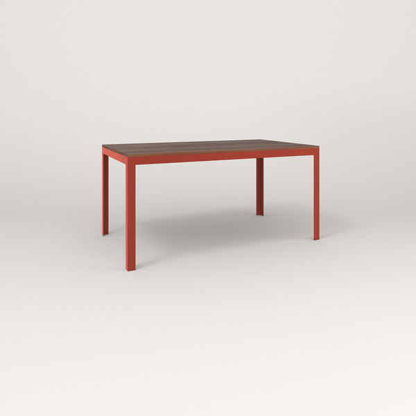 RAD Signature Table in slatted wood and red powder coat.