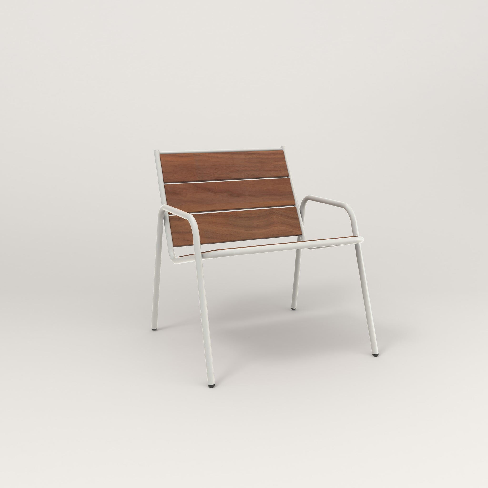 RAD Signature Lounge Chair in slatted wood and white powder coat.