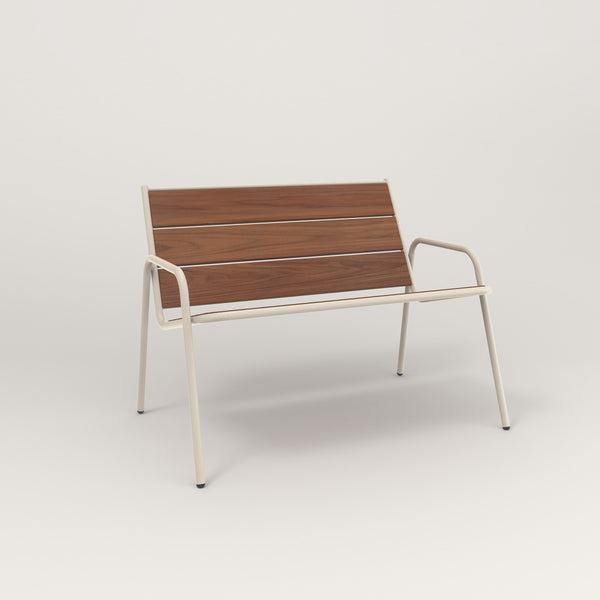 RAD Signature Lounge Chair in slatted wood and off-white powder coat.