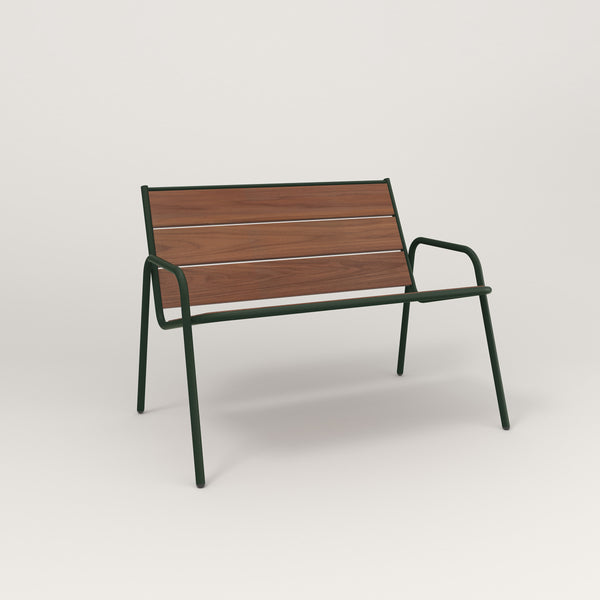 RAD Signature Lounge Chair in slatted wood and fir green powder coat.