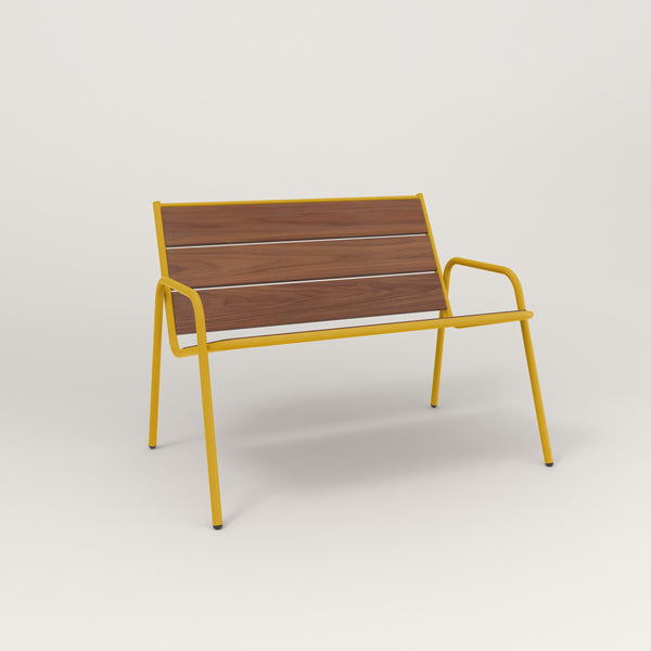 RAD Signature Lounge Chair in slatted wood and yellow powder coat.