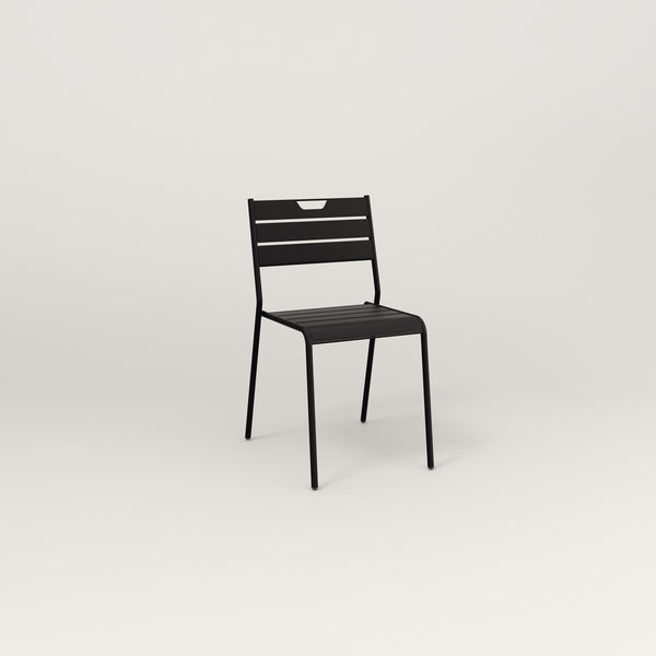 RAD Signature Dining Chair Slatted Steel in black powder coat.