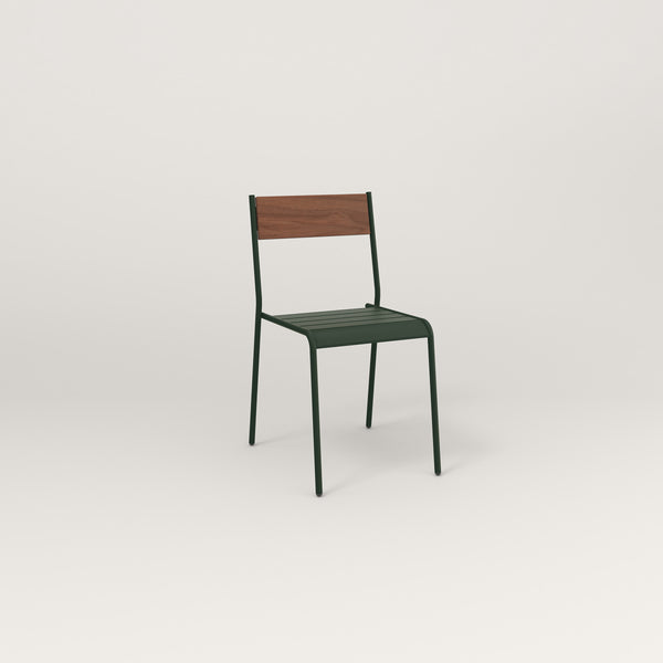 RAD Signature Dining Chair in slatted wood and fir green powder coat.