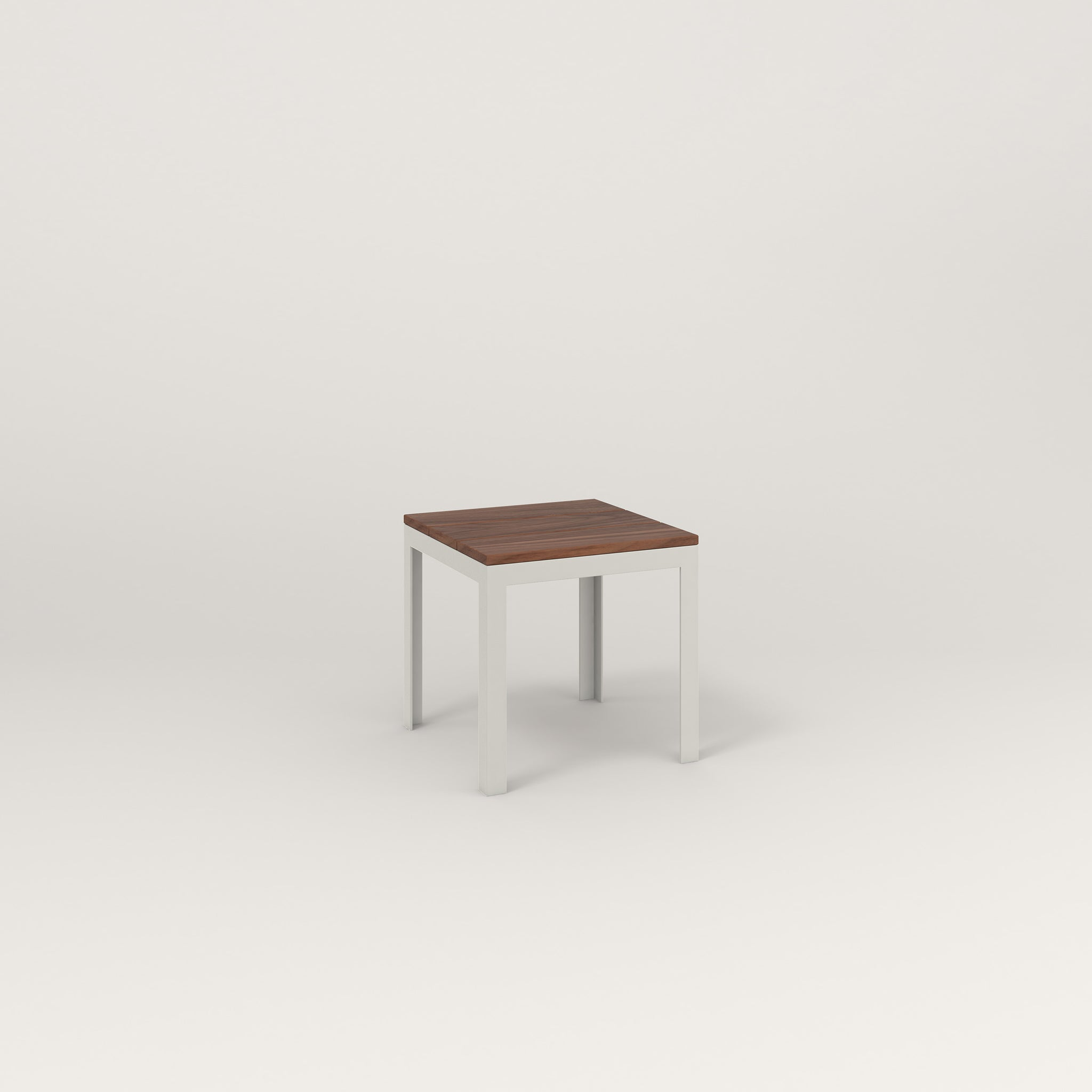 RAD Signature Simple Stool in slatted wood and white powder coat.