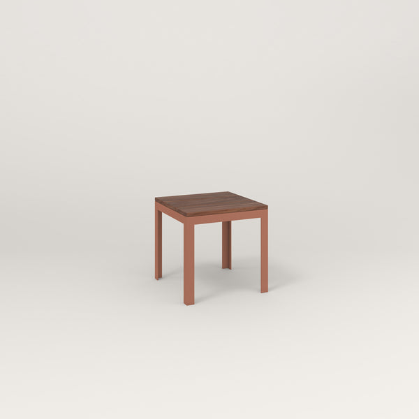 RAD Signature Simple Stool in slatted wood and coral powder coat.