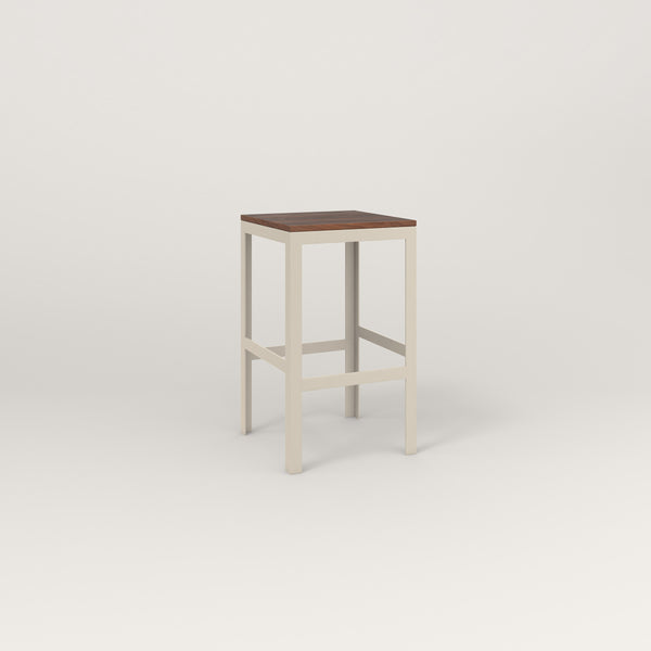 RAD Signature Simple Stool in slatted wood and off-white powder coat.