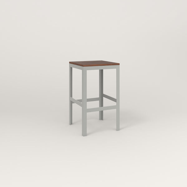 RAD Signature Simple Stool in slatted wood and grey powder coat.