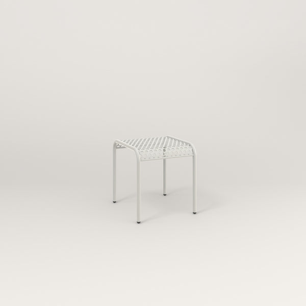 RAD Signature Bent Tube Stool in perforated steel and white powder coat.