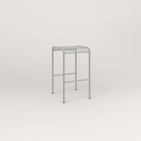 RAD Signature Bent Tube Stool in perforated steel and grey powder coat.