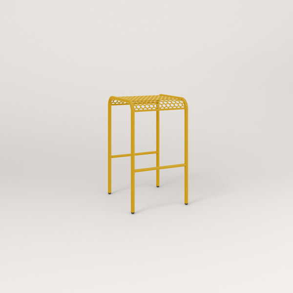 RAD Signature Bent Tube Stool in perforated steel and yellow powder coat.