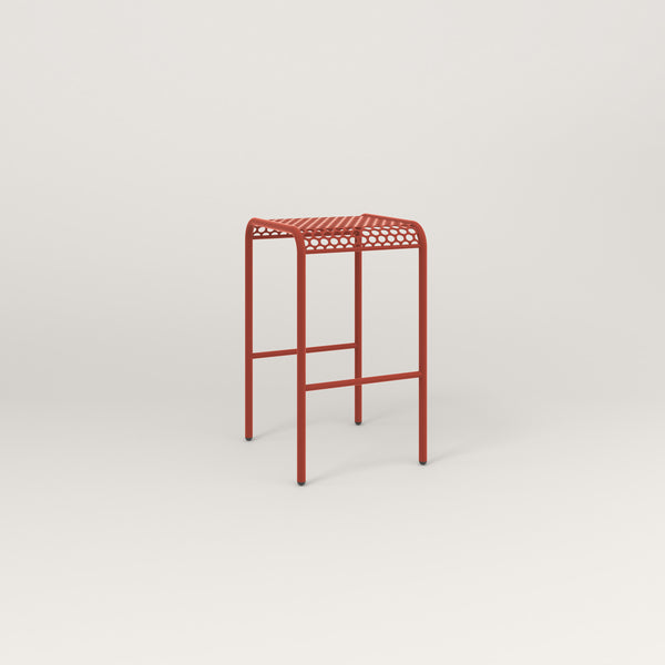 RAD Signature Bent Tube Stool in perforated steel and red powder coat.