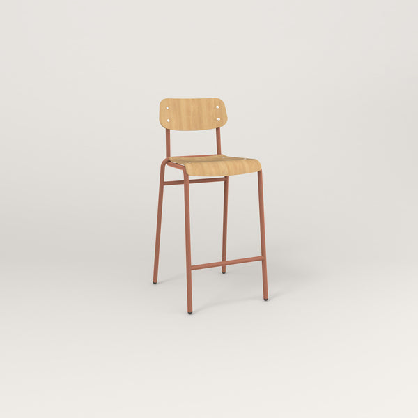 RAD School Bar Stool in bent plywood and coral powder coat.