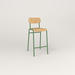 RAD School Bar Stool in bent plywood and sage green powder coat.