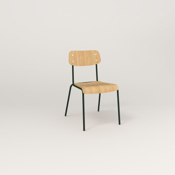 RAD School Chair in bent plywood and fir green powder coat.