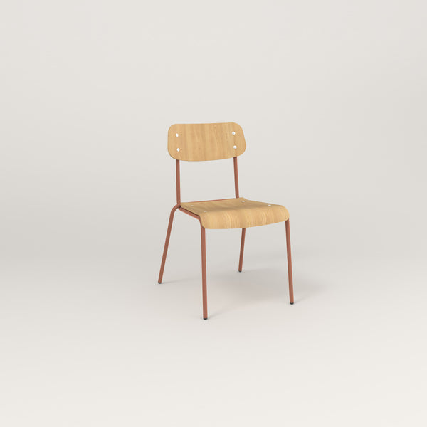 RAD School Chair in bent plywood and coral powder coat.