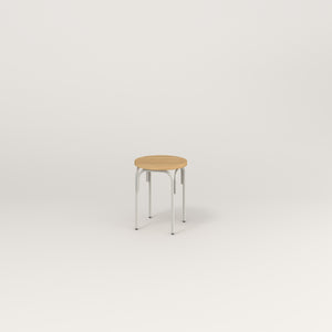 RAD School Simple Stool in white oak europly and white powder coat.