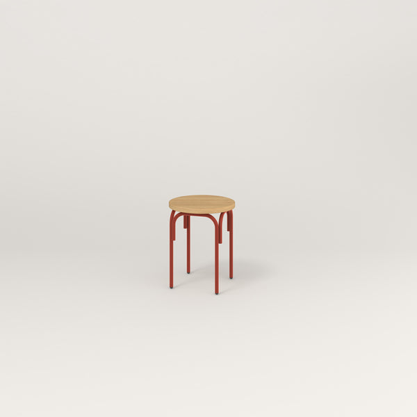 RAD School Simple Stool in white oak europly and red powder coat.