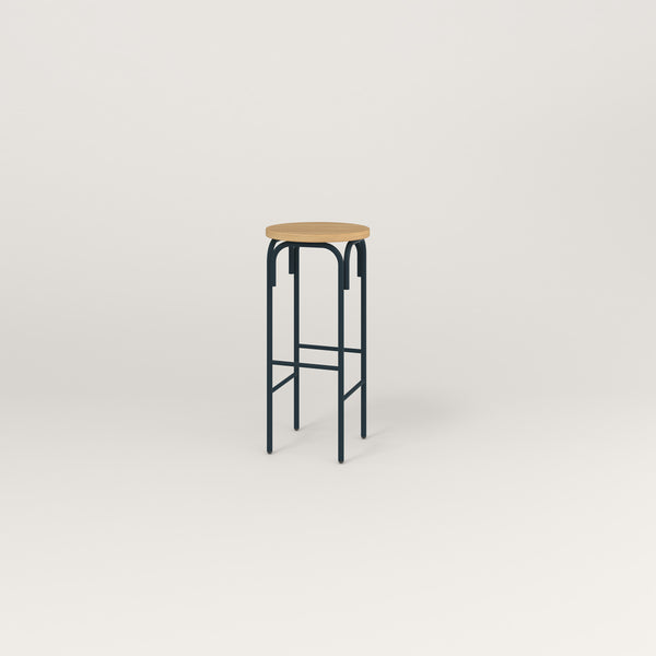 RAD School Simple Stool in white oak europly and navy powder coat.