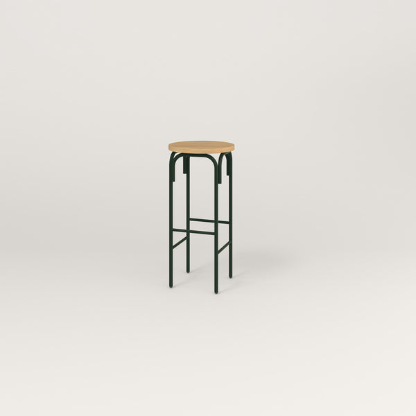 RAD School Simple Stool in white oak europly and fir green powder coat.