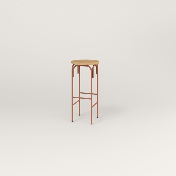 RAD School Simple Stool in white oak europly and coral powder coat.