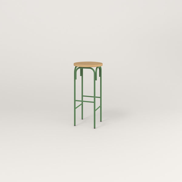 RAD School Simple Stool in white oak europly and sage green powder coat.