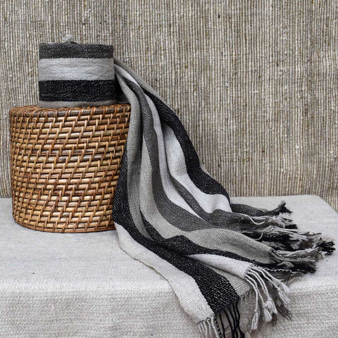 "Striped Black & White Throw — 76"" x 24"""