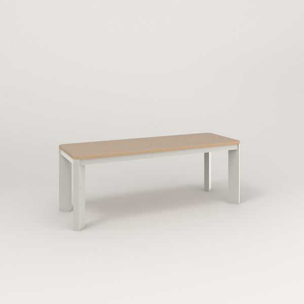 RAD Solid Bench in tricoya and white powder coat.
