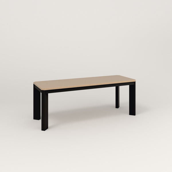 RAD Solid Bench in tricoya and black powder coat.