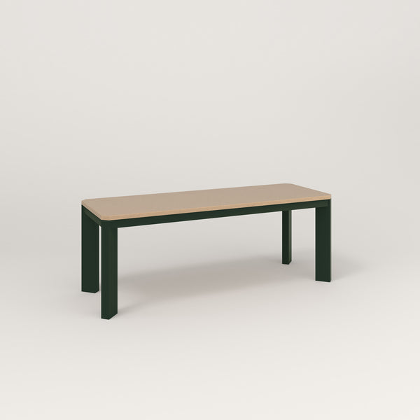 RAD Solid Bench in tricoya and fir green powder coat.