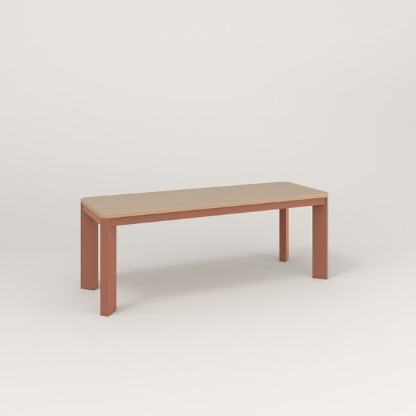 RAD Solid Bench in tricoya and coral powder coat.