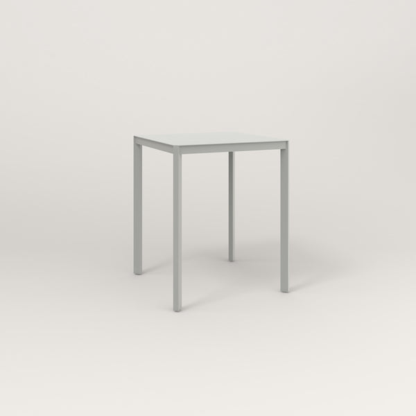RAD Solid Square Cafe Table, in solid steel and grey powder coat.