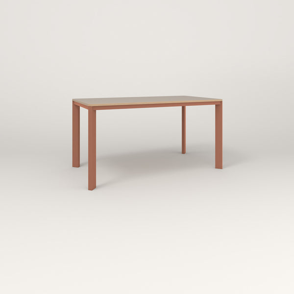 RAD Solid Table in tricoya and coral powder coat.