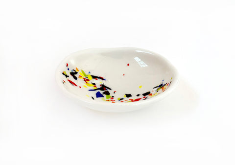 Stained Glass Bowl — White Terrazzo