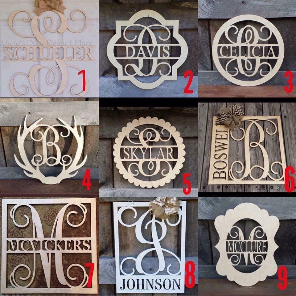 Unpainted Framed Family Name Door Hangers
