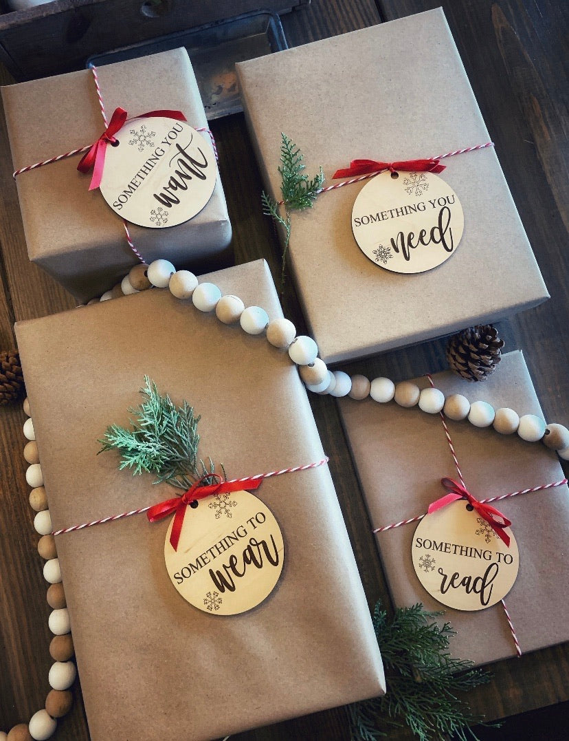 Engraved Gift Tags (Want, Need, Read, Wear)
